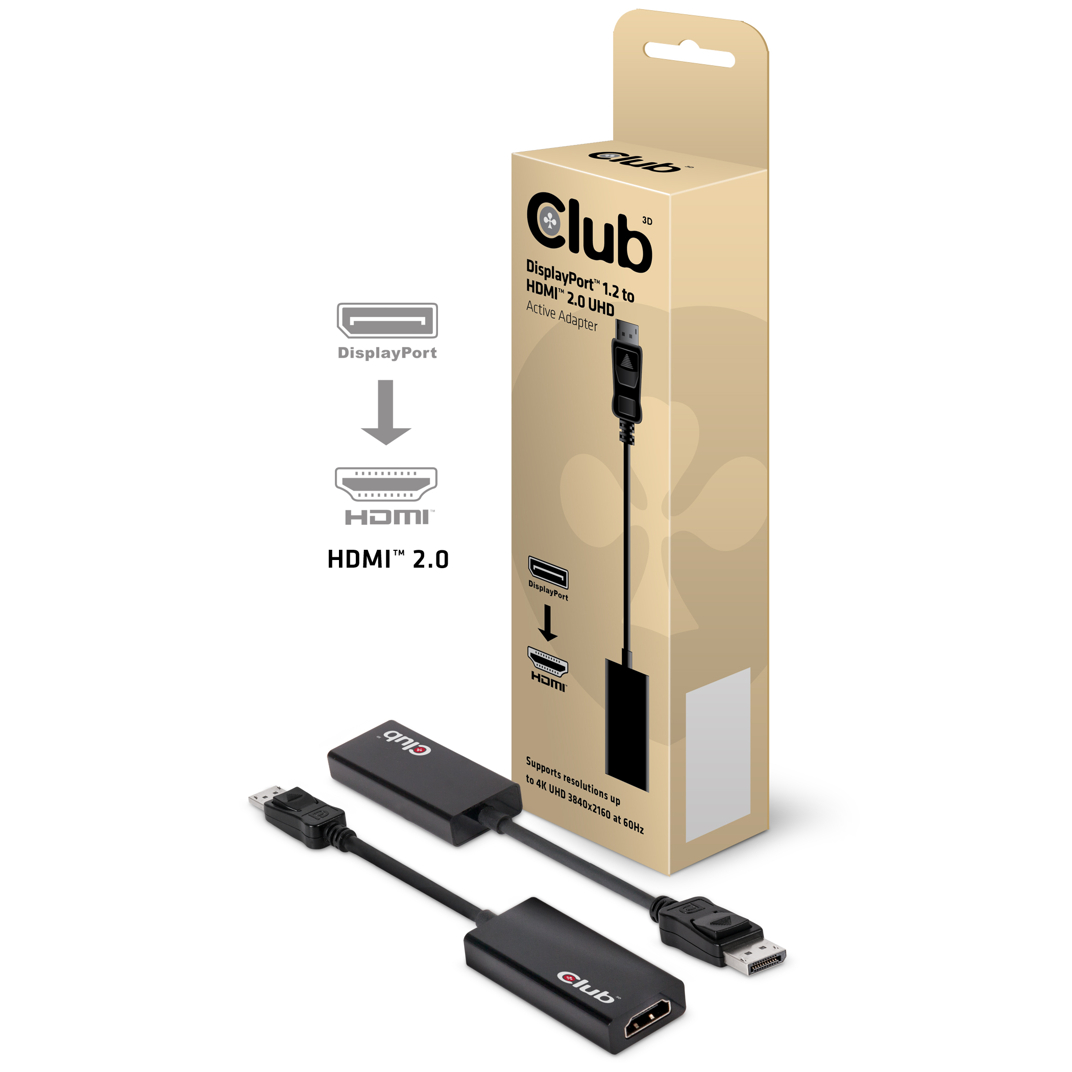CLUB 3D DISPLAY PORT 1.4 MALE TO HDMI 2.0a FEMALE 4K 60HZ UHD/ 3D ACTIVE ADAPTER - HDR SUPPORT