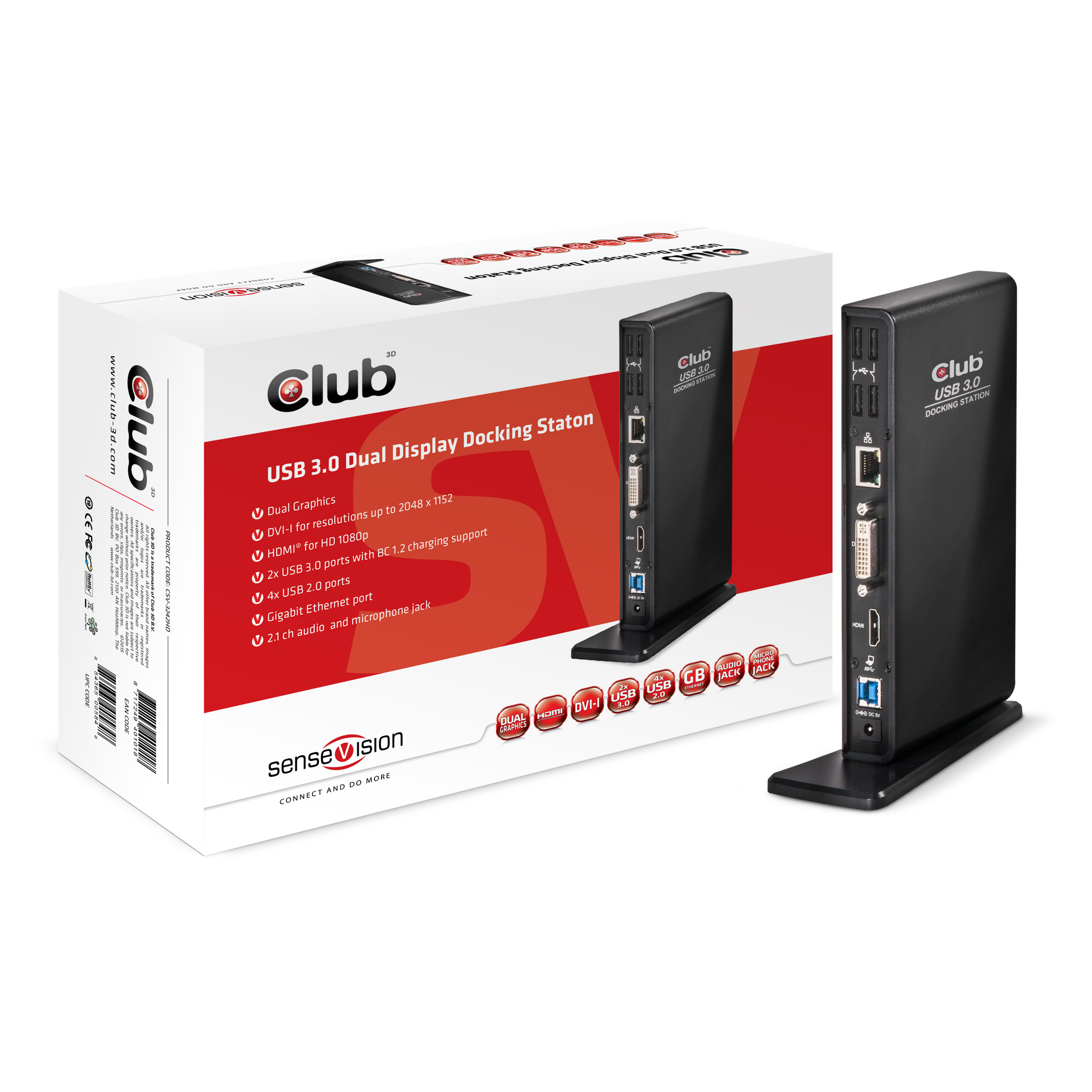 CLUB 3D USB 3.0 DOCKING STATION BLACK