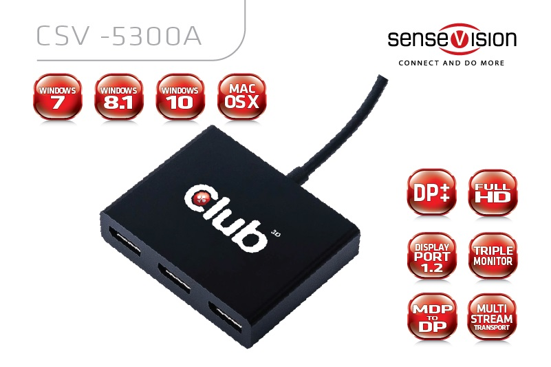 CLUB 3D  MST HUB 1X DISPLAYPORT TO 3X DISPLAYPORTS