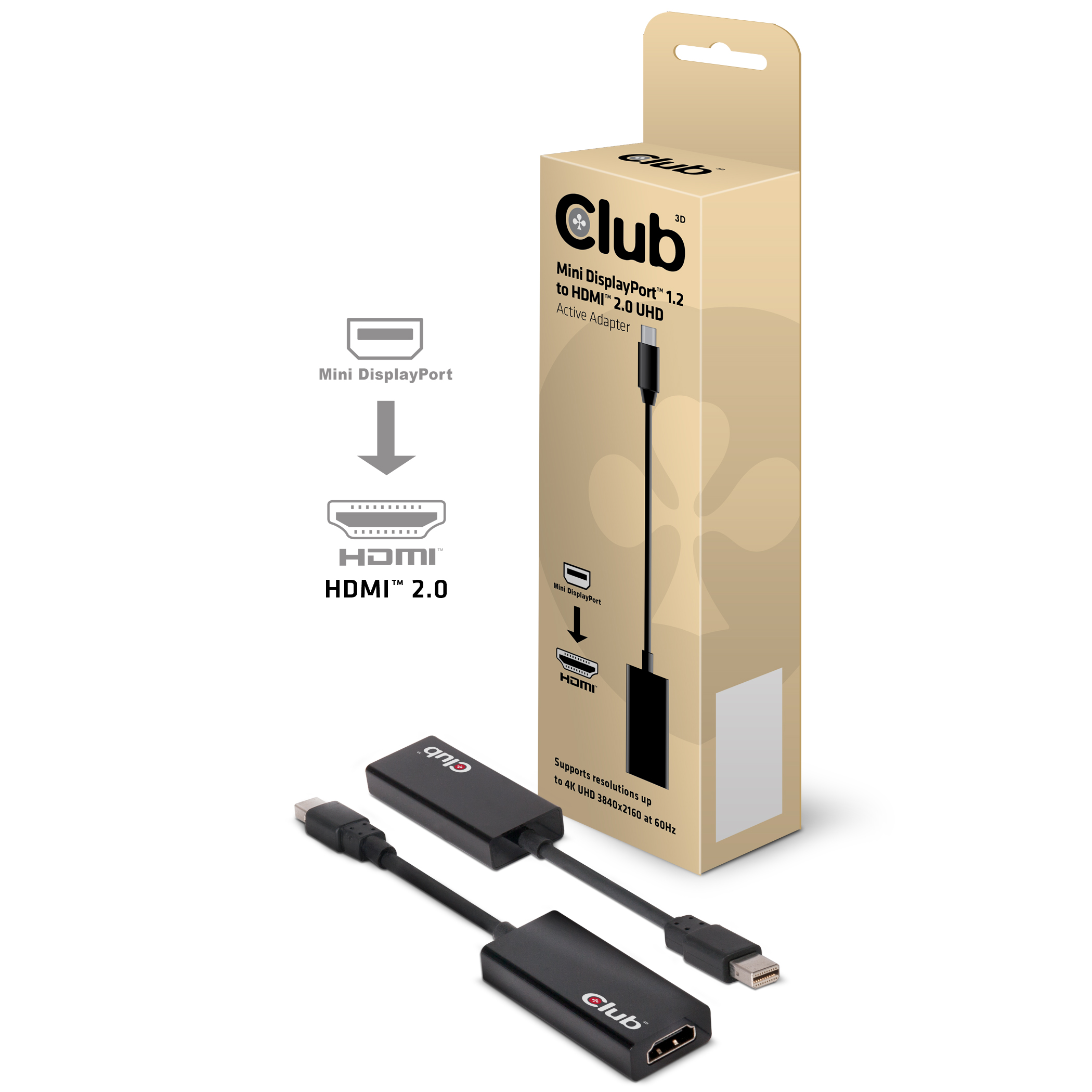 CLUB 3D MINI DISPLAYPORT  1.2 TO HDMI 2.0 4K 60Hz UHD ACTIVE ADAPTER