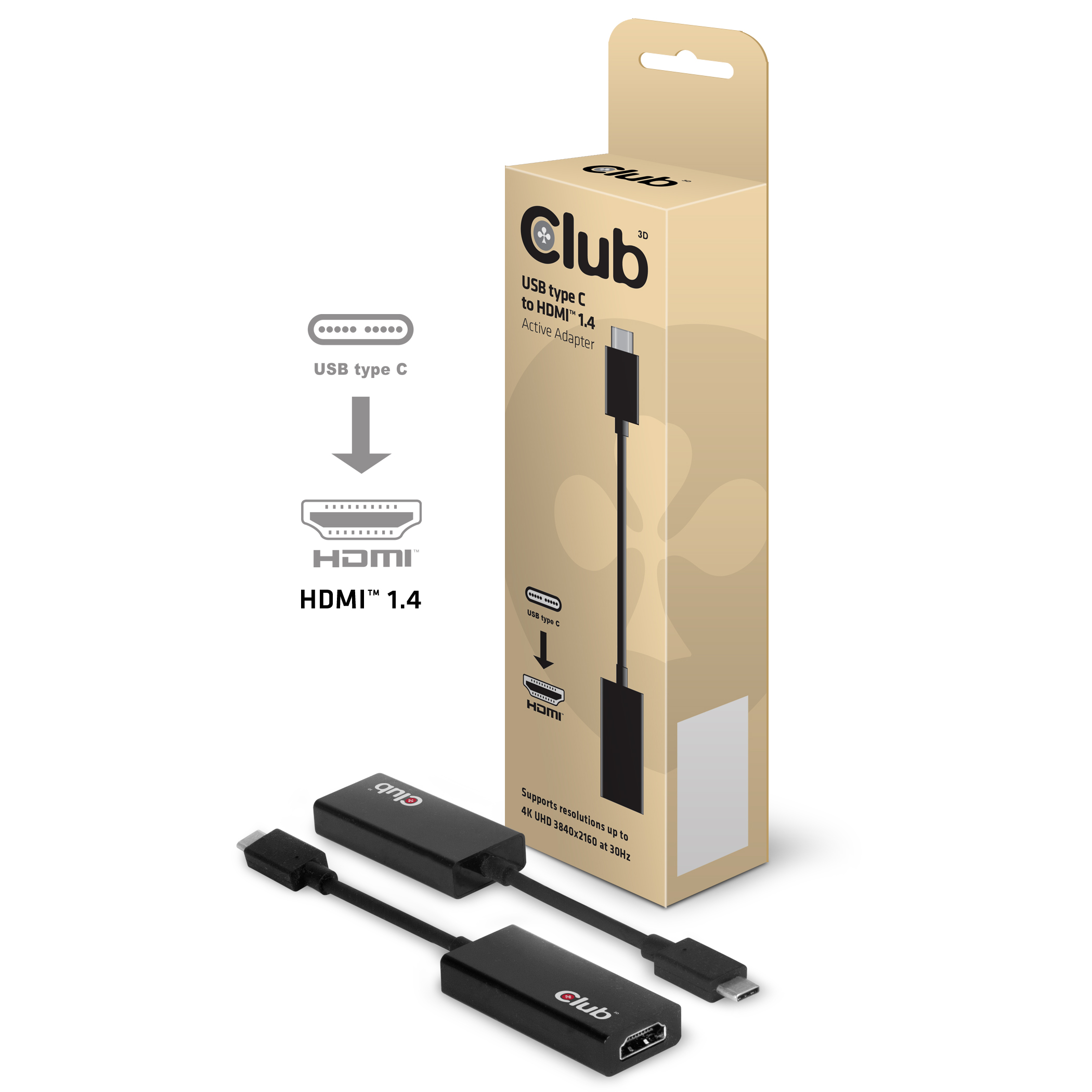CLUB 3D USB 3.1 TYPE C TO HDMI 1.4 3D ACTIVE ADAPTER