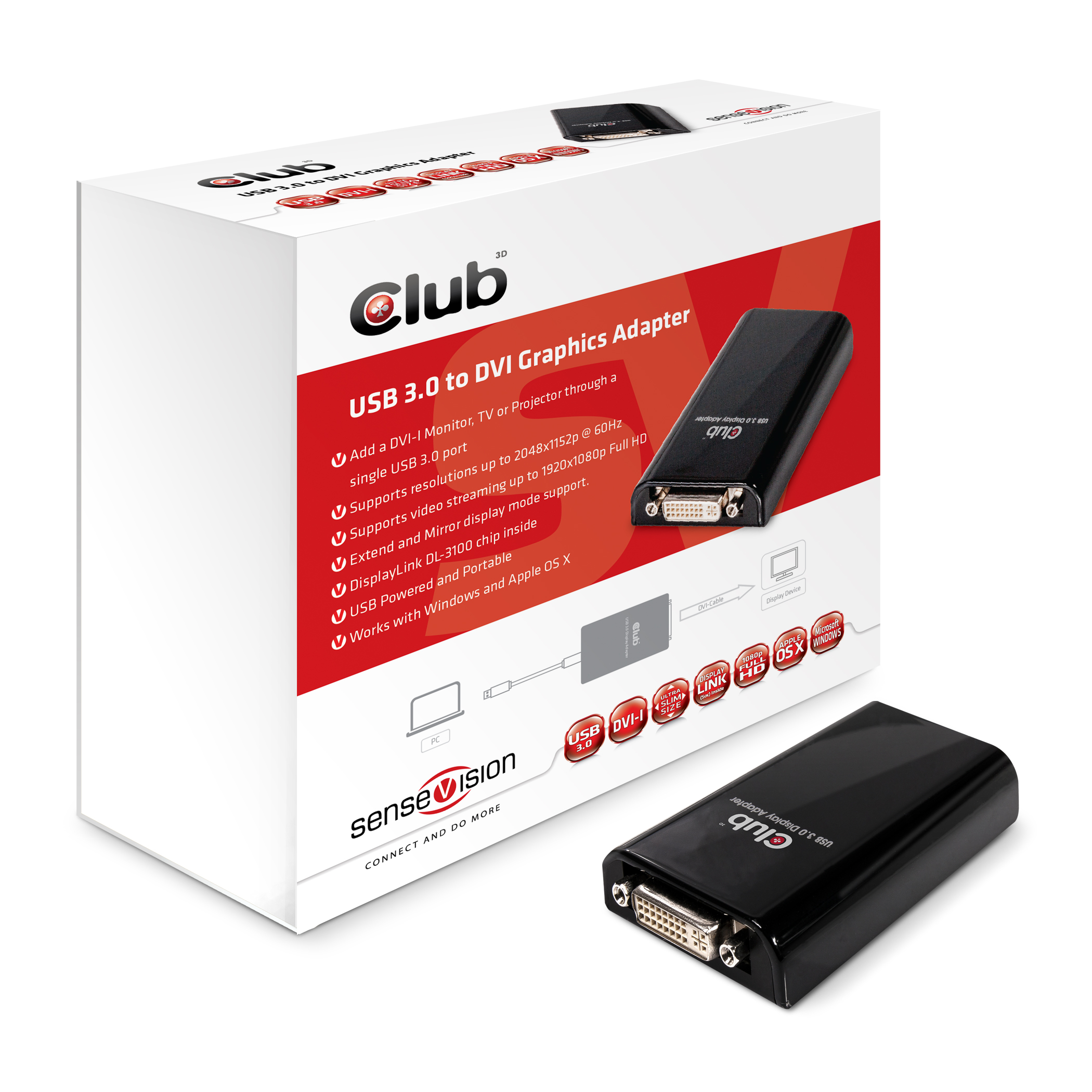 CLUB 3D USB 3.0 TO DVI ADAPTER