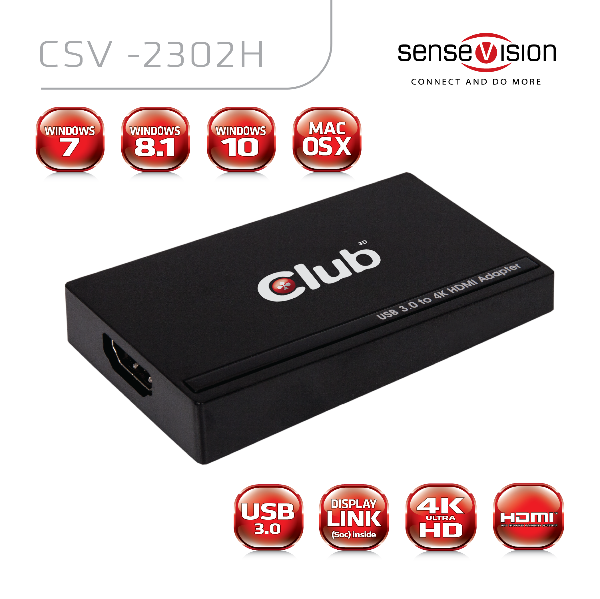 CLUB 3D USB 3.0 TO HDMI 4K 30Hz UHD ADAPTER