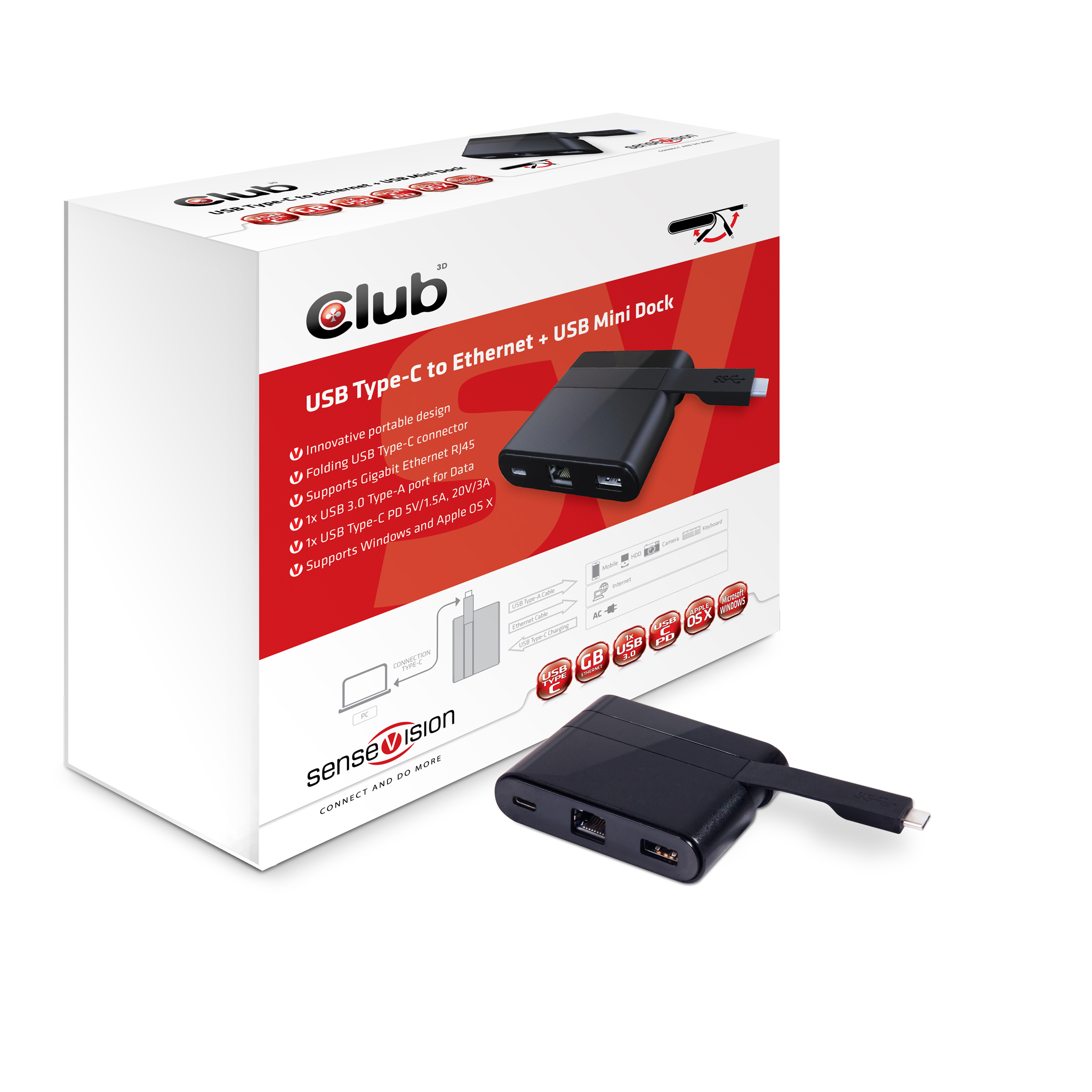 CLUB 3D  TYPE-C TO RJ 45 ETHERNET AND USB 3.0 SPLITTER