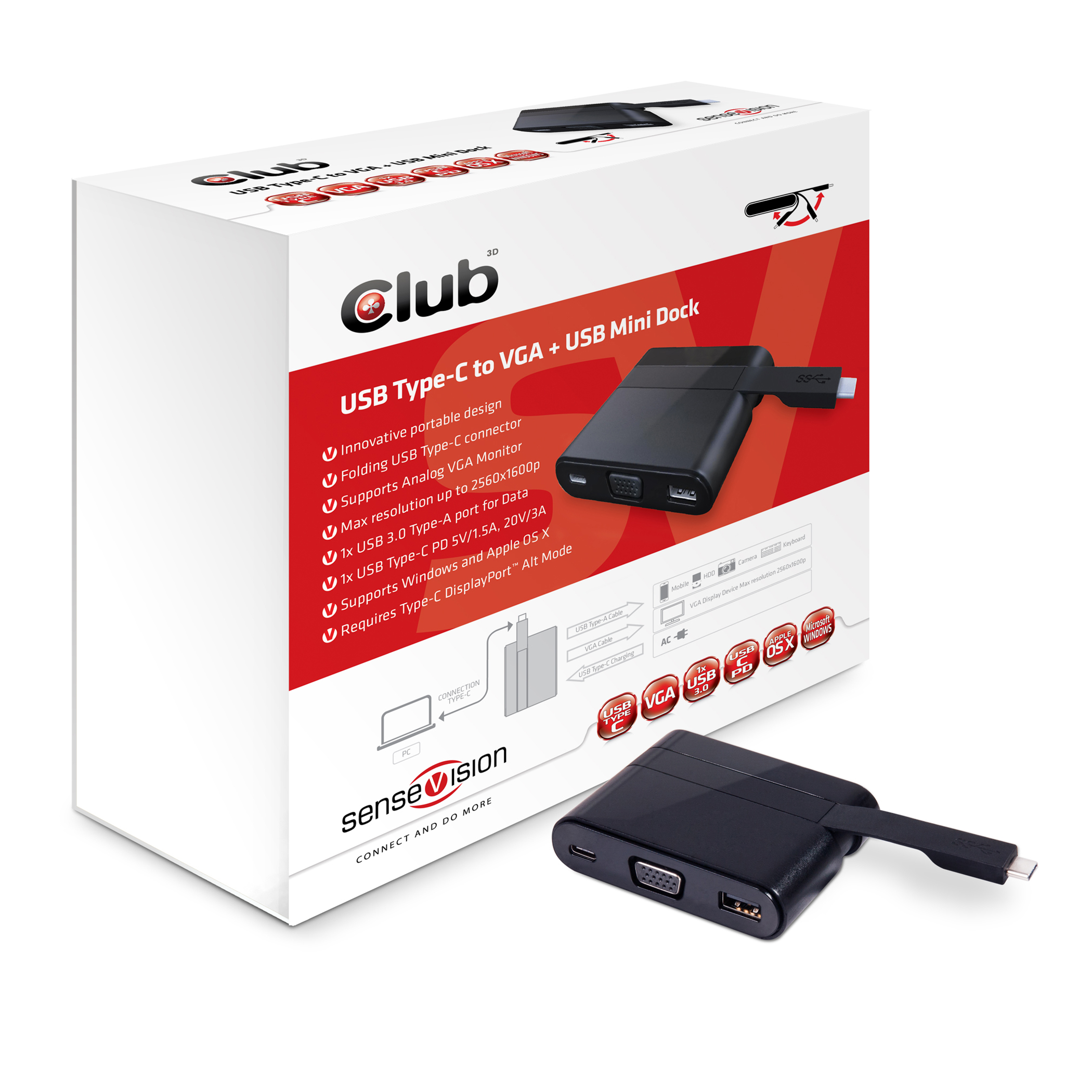 CLUB 3D  USB TYPE-C TO VGA AND USB MINI DOCK