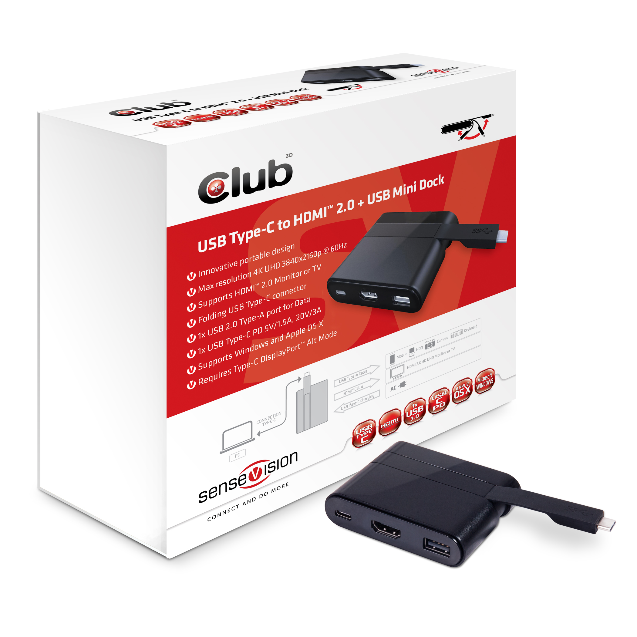 CLUB 3D  USB TYPE-C TO HDMI AND USB MINI DOCK