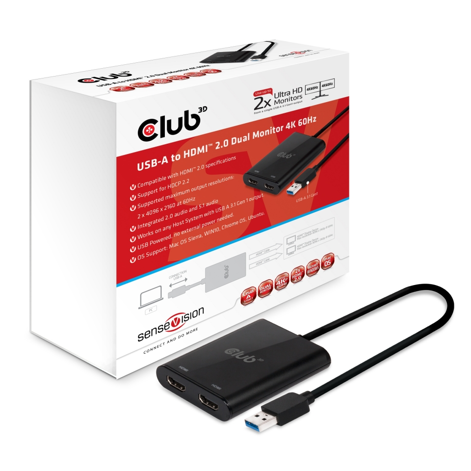 CLUB 3D USB 3.0 TO DUAL HDMI 2,0 4K 60Hz UHD ADAPTER