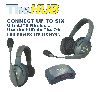 EARTEC ULTRALITE HUB + 5 DOUBLE EAR HEADSET HD
