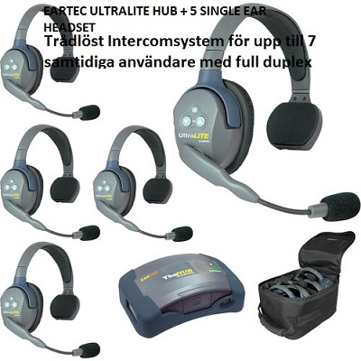 EARTEC ULTRALITE HUB + 5 SINGLE EAR HEADSET HD